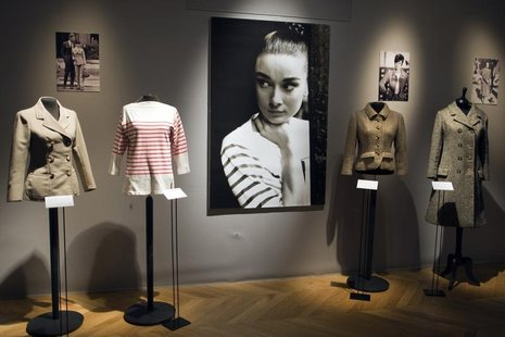 Clothes worn by actress Audrey Hepburn are displayed at Sotheby's auction house in Paris December 1, 2009 prior to the auction organised by