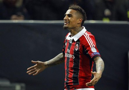 AC Milan's Kevin-Prince Boateng reacts after scoring against Barcelona during their Champions League soccer match at the San Siro stadium in