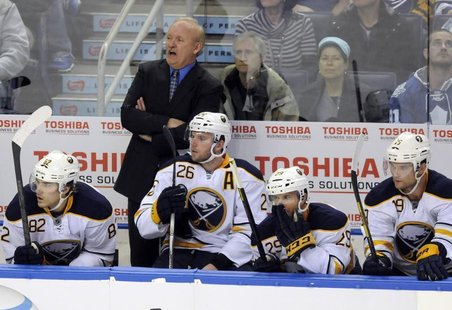 Buffalo Sabres coach Lindy Ruff watches from the bench during the second period of their NHL hockey game against the Toronto Maple Leafs in