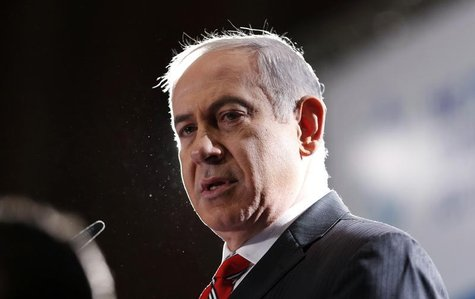 Israel's Prime Minister Benjamin Netanyahu addresses a meeting of the Jewish Agency's Board of Governors in Jerusalem February 18, 2013. REU