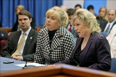 from left to right, Sean McCann, Tonya Schuitmaker and Margaret O'Brien testifying before the State Senate Transportation Committee to rename section of I-94