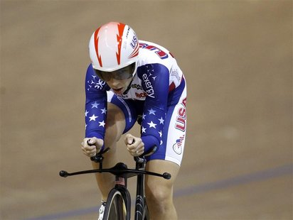 Sarah Hammer of the U.S. rides to win the gold medal during the women's individual pursuit final at the 2013 UCI Track Cycling World Champio