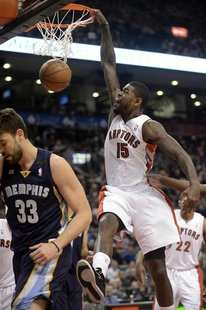 Toronto Raptors Amir Johnson (15) dunks the ball near Memphis Grizzlies Marc Gasol (33) during the first half of their NBA basketball game i