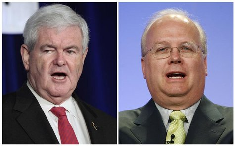 A combination photographs shows former Speaker of the House Newt Gingrich (L) in Waukesha, Wisconsin on March 31, 2012 and former Bush admin