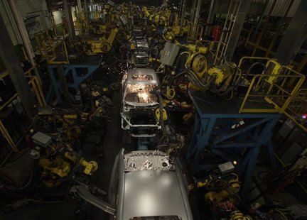 2013 Honda Accord bodies are seen being welded during a tour of the Honda automobile plant in Marysville, Ohio October 11, 2012. REUTERS/Pau