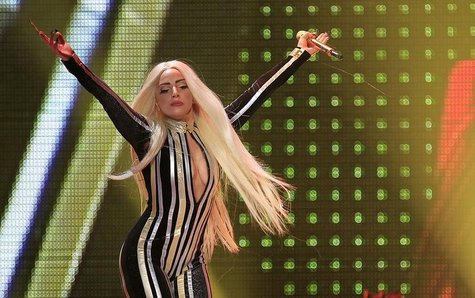 "Lady Gaga performs onstage during the Rolling Stones final concert of their ""50 and Counting Tour"" in Newark, New Jersey, December 15, 2012"