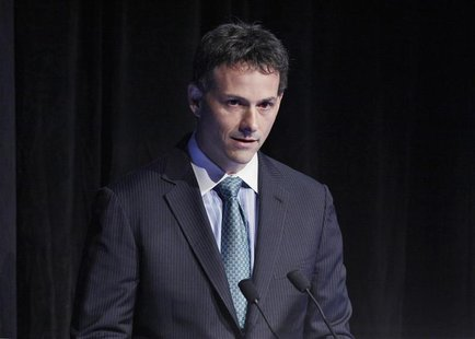 David Einhorn, president of Greenlight Capital, speaks during the Sohn Investment Conference in New York, in this file photo from May 16, 20