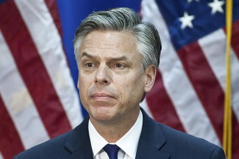 Former Utah Governor Jon Huntsman speaks at the Myrtle Beach Convention Center in Myrtle Beach, South Carolina January 16, 2012. REUTERS/Chr