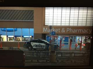 Green Bay Police respond to bomb threat at the Walmart store on West Mason Street on February 20, 2013. (courtesy of FOX 11).