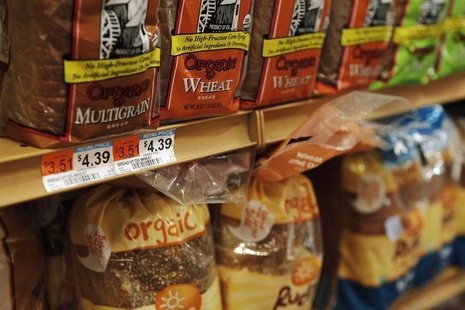 The price of bread is seen on a store shelf in New York April 7, 2011. REUTERS/Lucas Jackson