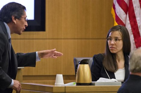 Prosecutor Juan Martinez asks Jodi Arias a question about her diary during cross examination in Maricopa County Superior Court in Phoenix, A