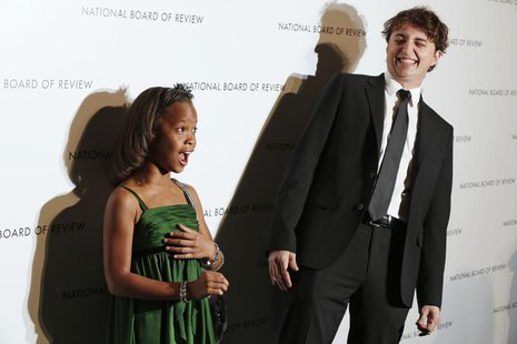 Director Benh Zeitlin and actress Quvenzhane Wallis react as they arrive at the National Board of Review Awards in New York January 8, 2013.