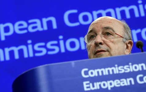 European Union Competition Commissioner Joaquin Almunia holds a news conference on the proposed merger between United Parcel Service Inc and