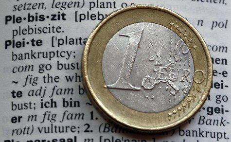 An one Euro coin is pictured next to the words bankruptcy (pleite) in an English-German dictionary in Munich February 10, 2012. REUTERS/Mich