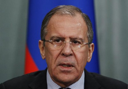 Russian Foreign Minister Sergei Lavrov speaks at a news conference after a meeting of the Russia-Arab cooperation forum in Moscow February 2
