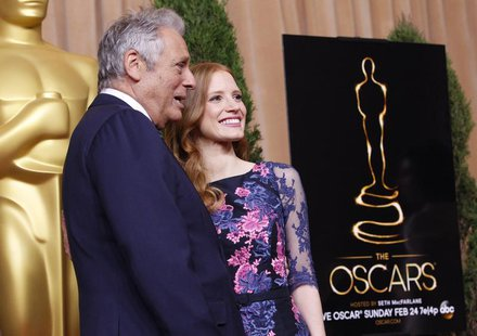 "Academy of Motion Pictures Arts and Sciences president Hawk Koch and actress Jessica Chastain, nominated for best actress for her role in ""Z"