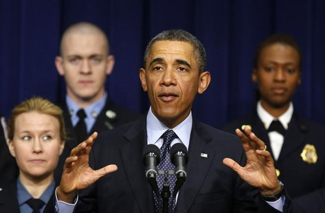 U.S. President Barack Obama speaks against automatic budget cuts scheduled to take effect next week, while in the South Court Auditorium in