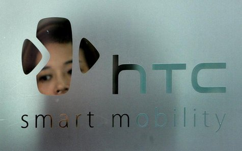 The logo of HTC is seen in Taipei September 24, 2008. The new G1 phone made by Taiwan's HTC Corp running Google's Android software was launc