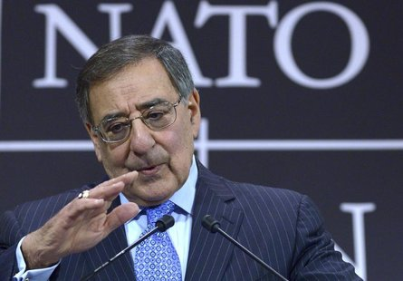 U.S.' Secretary of Defense Leon Panetta addresses a news conference during a NATO defence ministers meeting at the Alliance headquarters in