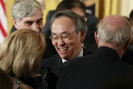 Outgoing U.S. Energy Secretary Steven Chu is pictured in the audience during a science and technical innovation award ceremony in the East R