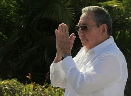 Cuba's President Raul Castro gestures after a wreath-laying ceremony at the Soviet Soldier monument in Havana February 22, 2013. REUTERS/Enr