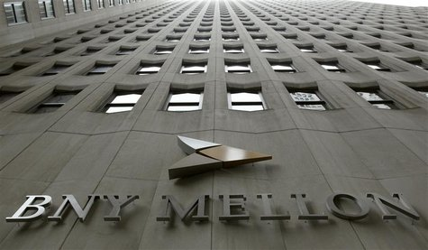 A BNY Mellon sign is seen on their headquarters in New York's financial district, January 19, 2011. REUTERS/Brendan McDermid (UNITED STATES