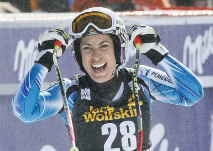 Carolina Ruiz Castillo of Spain reacts after winning the Women's World Cup Downhill skiing race in Meribel, in the French Alps, February 23,