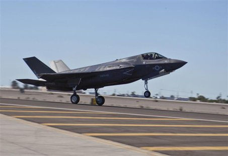 A U.S. Marine Corps F-35B lands at the Marine Corps Air Station in Yuma, Arizona in this handout photo taken November 20, 2012. The Pentagon