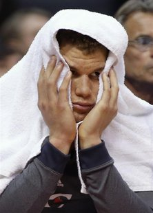 Los Angeles Clippers' Blake Griffin reacts on the bench as the Clippers trail the San Antonio Spurs during the fourth quarter of an NBA bask