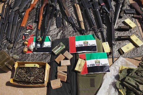 Munitions captured from Islamist rebels are seen on display for the press at the Malian airbase where French soldiers are stationed in Gao F