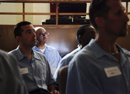 Inmates in the Last Mile program at San Quentin State Prison prepare to present their startup ideas in San Quentin, California February 22,