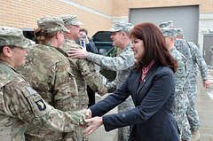 Lt. Gov. Rebecca Kleefisch, Maj. Gen. Don Dunbar, adjutant general of Wisconsin, and senior Wisconsin National Guard leaders greet the remaining members of the Wisconsin National Guard's 82nd Agribusiness Development Team upon their return to Wisconsin Friday, Feb. 22.  Wisconsin National Guard Public Affairs photo by Vaughn R. Larson