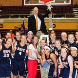 Hope Coach Brian Morehouse with his 2013 MIAA women's tournament championship team (photo courtesy Hope College)