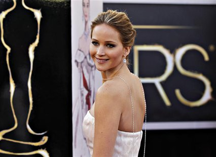 "Best Actress nominee Jennifer Lawrence for her role in ""Silver Linings Playbook"" arrives at the 85th Academy Awards in Hollywood, California"
