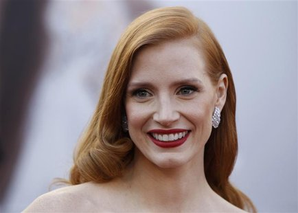 "Jessica Chastain, actress in a leading role nominee for the film ""Zero Dark Thirty"" arrives at the 85th Academy Awards in Hollywood, Califor"