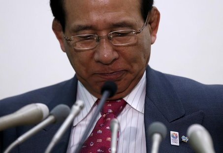 Japan Wrestling Federation president Tomiaki Fukuda attends a news conference in Tokyo February 13, 2013. Wrestling was left in a state of s