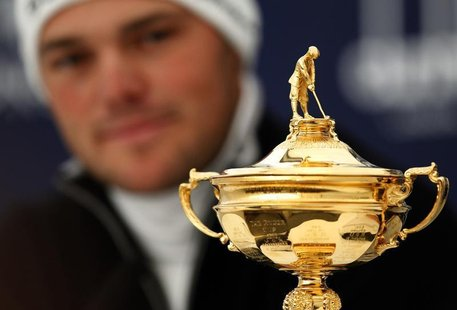 Germany's Martin Kaymer looks at the Ryder Cup during a news conference at the Dunhill Links Championship in the Old Course in St Andrews, S