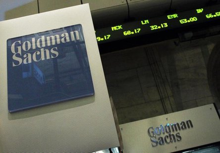 A Goldman Sachs sign is seen over their kiosk on the floor of the New York Stock Exchange, April 26, 2010. REUTERS/Brendan McDermid