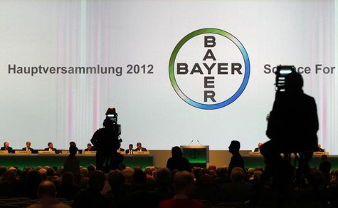 A general view shows the annual general meeting of Bayer AG in Cologne April 27, 2012. Bayer's Chief Executive Marijn Dekkers reiterated the