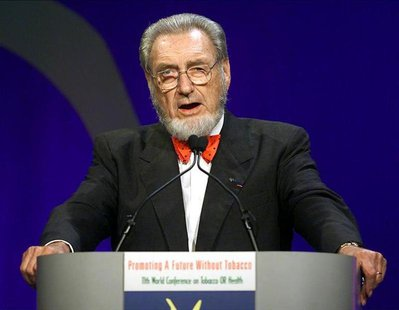 C. Everett Koop, former surgeon general of the United States speaks at the closing ceremonies of the World Conference on Tobacco or Health i