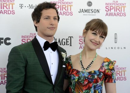 Host Andy Samberg and his girlfriend, musician Joanna Newsom, arrive at the 2013 Film Independent Spirit Awards in Santa Monica, California