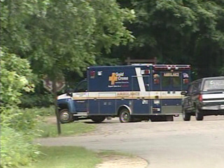 An ambulance leaves High Cliff State Park, June 4, 2010. (courtesy of FOX 11).