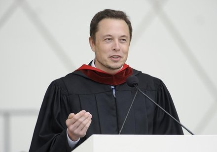 Elon Musk, co-founder of SpaceX and Tesla Motors, speaks at the California Institute of Technology commencement ceremony in Pasadena, Califo