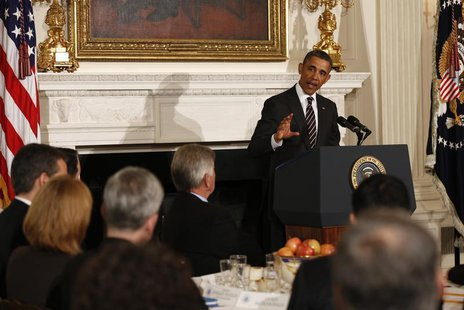 U.S. President Barack Obama speaks to the National Governors Association in the State Dining Room of the White House in Washington February