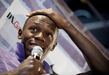 Jamaica's sprinter Usain Bolt speaks during a news conference in Stockholm August 5, 2010. REUTERS/Maja Suslin /scanpix