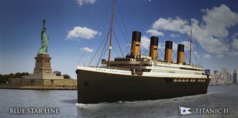 An undated artist's rendering of the proposed cruise ship Titanic II, provided by the Blue Star Line as Australian billionaire Clive Palmer