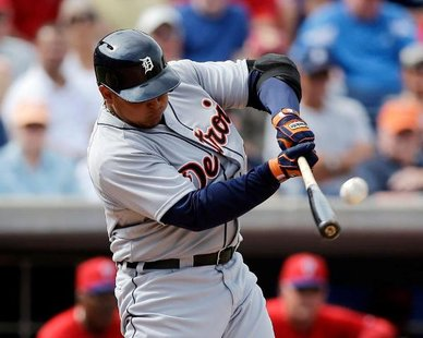 Detroit Tigers 3B Miguel Cabrera connects on a Jonathan Papelbon pitch for a three-run homer in the fifth inning of a 10-1 exhibition victory over Philadelphia in Clearwater, Florida on Feb. 25, 2013. (photo courtesy Detroit Tigers)