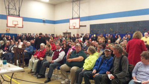 It was standing room only at the Alamo Elementary Gym for Monday Night's noise ordinance hearing.