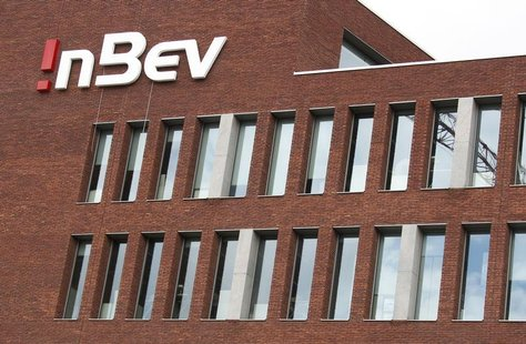 The logo of Anheuser-Busch InBev is seen on the facade of its headquarters in Leuven June 25, 2012. REUTERS/Francois Lenoir