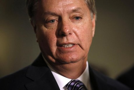 U.S. Senator Lindsey Graham (R-SC) speaks to the press following his private meeting with United States U.N. Ambassador Susan Rice about the